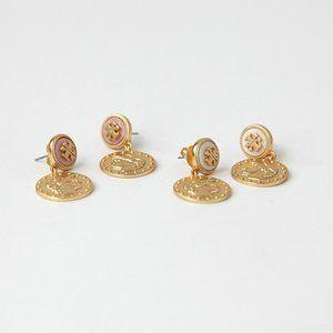 Tory Burch Shell Portrait Gold Coin Drop Earrings